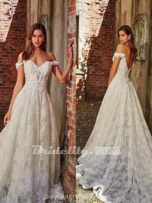 Chicloth off-the-Shoulder Full Lace Wedding Dresses A-Line Lace Appliques with Court Train_3