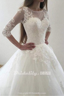 Chicloth Ivory Puffy Half Sleeves Long Vintage Tulle Bateau Appliques Wedding Dress_5