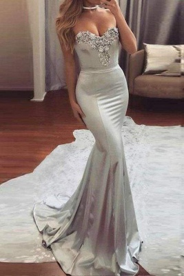 Chicloth Sexy Silver Strapless Sweetheart Mermaid Beading Evening Long Prom Dress_1