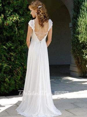 Chicloth Fashionable V-Neck Cap Sleeves Lace-Up Ruffles Wedding Dresses_2