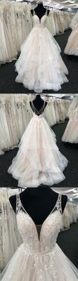 Chicloth White Tulle V Neck Open Back Long Layered  Wedding Dress_4