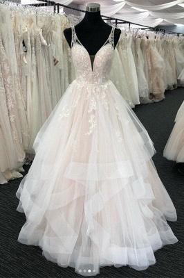 Chicloth White Tulle V Neck Open Back Long Layered  Wedding Dress_1