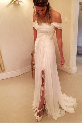 A-Line Off-the-Shoulder Long Chiffon Beach Wedding Dress_1