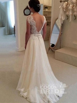 Cheap Jewel Backless Lace A-Line Wedding Dresses_4