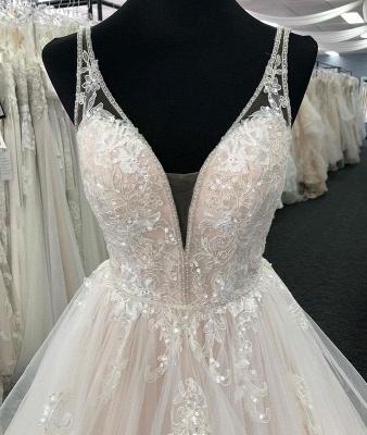 Chicloth White Tulle V Neck Open Back Long Layered  Wedding Dress_3