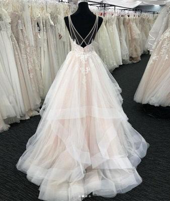 Chicloth White Tulle V Neck Open Back Long Layered  Wedding Dress_2