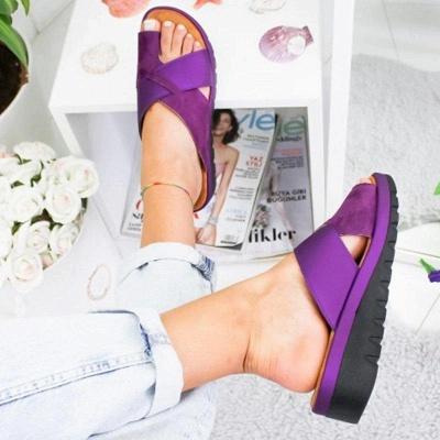 FFT445 Women Fashion Retro Colorblock Platform Slippers_5