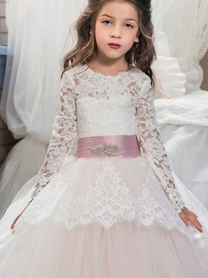 Ball Gown Sweep / Brush Train Wedding / Birthday / Pageant Flower Girl Dresses - Lace / Tulle / Cotton Long Sleeve Jewel Neck With Lace / Belt / Embroidery_2