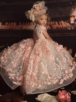 Ball Gown Sweep / Brush Train Wedding Flower Girl Dresses - Polyester Short Sleeve Jewel Neck With Appliques / Solid_3