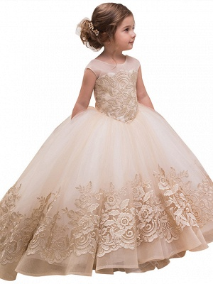 Princess Sweep / Brush Train Wedding / Birthday / Pageant Flower Girl Dresses - Lace / Tulle / Cotton Sleeveless Jewel Neck With Lace / Bow(S) / Embroidery_1