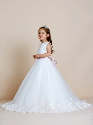 A-Line Floor Length Wedding / First Communion Flower Girl Dresses - Satin / Tulle Sleeveless Jewel Neck With Sash / Ribbon / Bow(S) / Appliques_6