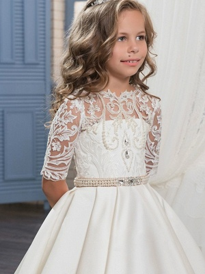 Ball Gown Sweep / Brush Train Wedding / Birthday / Pageant Flower Girl Dresses - Matte Satin Half Sleeve Jewel Neck With Embroidery / Bandage_4