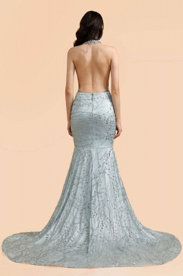 Mermaid Halter V-neck Sleeveless Backless Floor-Length Prom Dress_6