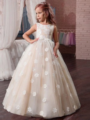 Princess Long Length Wedding / First Communion / Pageant Flower Girl Dresses - Tulle / Mikado Sleeveless Jewel Neck With Appliques_3