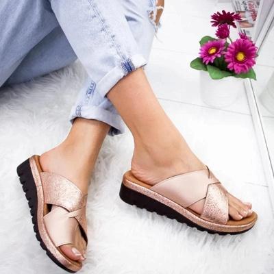 FFT445 Women Fashion Retro Colorblock Platform Slippers_2