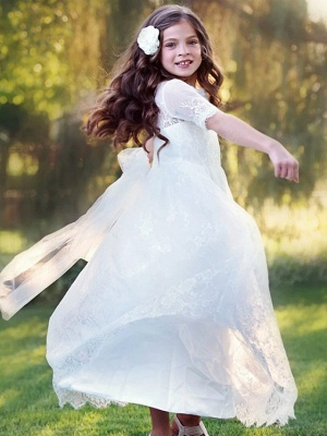 Princess / A-Line Floor Length Wedding / Party Flower Girl Dresses - Lace / Tulle Long Sleeve Jewel Neck With Tier / Flower / Solid_4
