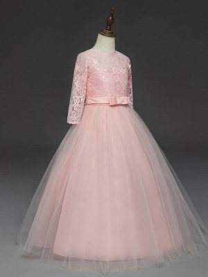 Princess Long Length Wedding / Party / Pageant Flower Girl Dresses - Lace / Tulle Half Sleeve Jewel Neck With Lace / Belt_8