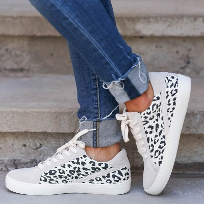 SD1967 Women Leopard Sneakers Flat Shoes
