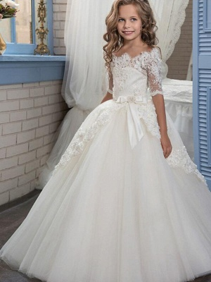 Ball Gown Floor Length Christmas / Wedding / Pageant Flower Girl Dresses - Cotton / Nylon With A Hint Of Stretch / Organza / Tulle Half Sleeve Boat Neck With Lace / Bow(S) / Appliques_1
