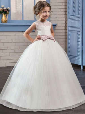 Princess Long Length Flower Girl Dress - Tulle / Mikado Sleeveless Jewel Neck With Bow(S) By Lan Ting Express_1