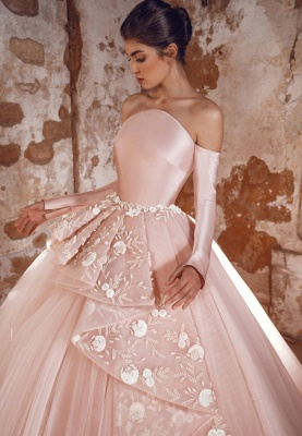ZY433 Evening Dress Long Pink Prom Dresses With Sleeves_2