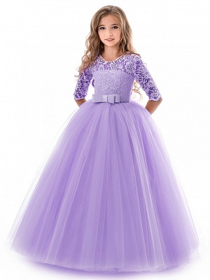 Princess Long Length Wedding / Party / Pageant Flower Girl Dresses - Lace / Tulle Half Sleeve Jewel Neck With Lace / Belt_4