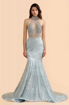 Mermaid Halter V-neck Sleeveless Backless Floor-Length Prom Dress_4