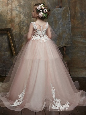 Princess / Ball Gown Sweep / Brush Train Wedding / Party Flower Girl Dresses - Lace / Organza Long Sleeve Illusion Neck With Bow(S) / Appliques_2