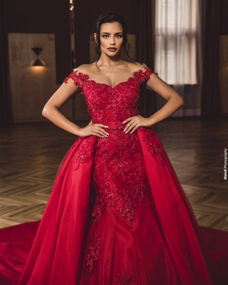 ZY418 Evening Dress Long Red Evening Dresses With Lace_4