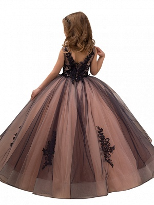 Ball Gown Maxi Birthday / Pageant Flower Girl Dresses - Tulle / Satin Chiffon Sleeveless V Neck With Lace / Embroidery / Appliques_2