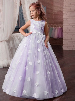 Princess Long Length Wedding / First Communion / Pageant Flower Girl Dresses - Tulle / Mikado Sleeveless Jewel Neck With Appliques_4