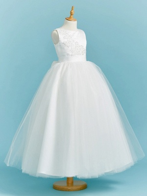Ball Gown Crew Neck Floor Length Lace / Tulle Junior Bridesmaid Dress With Sash / Ribbon / Pleats / Beading_3