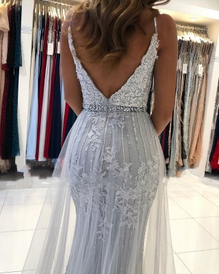 ZY368 Silver Evening Dresses Long Cheap Prom Dresses With Lace_3