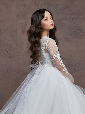 Ball Gown Court Train Wedding / Party Flower Girl Dresses - Poly Long Sleeve Jewel Neck With Lace / Tier / Appliques_3