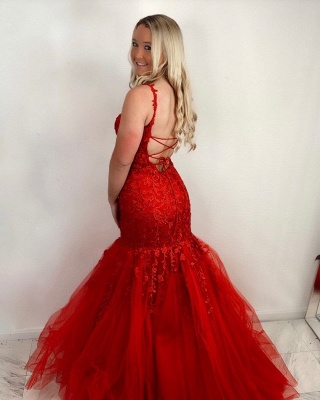 ZY414 Red Prom Dresses Long Cheap Evening Dresses Lace_2