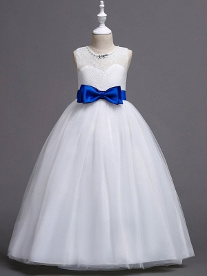 Princess / Ball Gown Floor Length Wedding / Party Flower Girl Dresses - Tulle Sleeveless Jewel Neck With Sash / Ribbon / Bow(S) / Embroidery_4