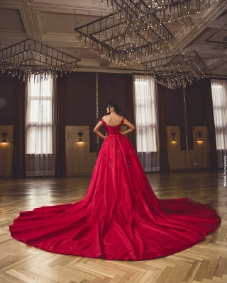 ZY418 Evening Dress Long Red Evening Dresses With Lace_5