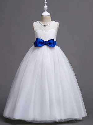 Princess / Ball Gown Floor Length Wedding / Party Flower Girl Dresses - Tulle Sleeveless Jewel Neck With Bow(S) / Beading / Embroidery_4