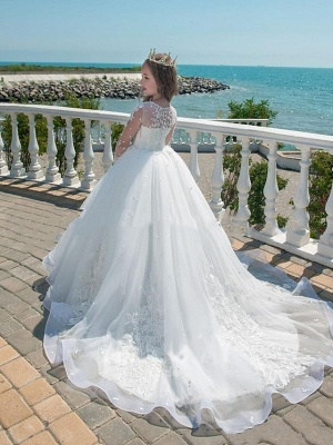 Princess / Ball Gown Court Train Wedding / Party Flower Girl Dresses - Lace Long Sleeve Jewel Neck With Lace / Pleats / Appliques_2