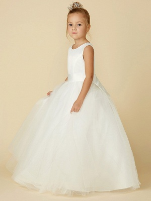 A-Line Floor Length Wedding / First Communion Flower Girl Dresses - Satin / Tulle Sleeveless Jewel Neck With Bow(S) / Buttons_4