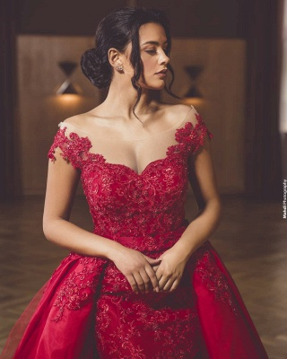 ZY418 Evening Dress Long Red Evening Dresses With Lace_2
