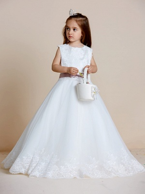 A-Line Floor Length Wedding / First Communion Flower Girl Dresses - Satin / Tulle Sleeveless Jewel Neck With Sash / Ribbon / Bow(S) / Appliques_1