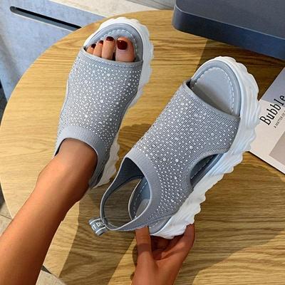 FFT444 Women Casual Flyknit Fabric Rhinestones Slip On Creepers Platform Sandals_6