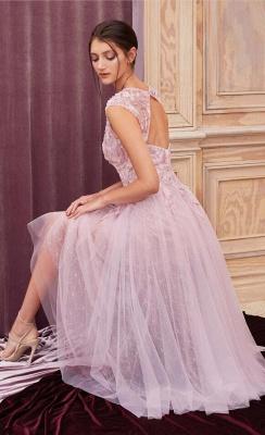 ZY380 Elegant Evening Dresses Pink Short Lace Cocktail Dresses_2
