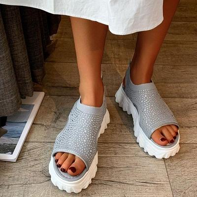 FFT444 Women Casual Flyknit Fabric Rhinestones Slip On Creepers Platform Sandals_2
