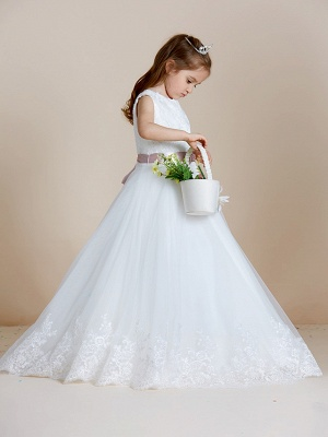 A-Line Floor Length Wedding / First Communion Flower Girl Dresses - Satin / Tulle Sleeveless Jewel Neck With Sash / Ribbon / Bow(S) / Appliques_3
