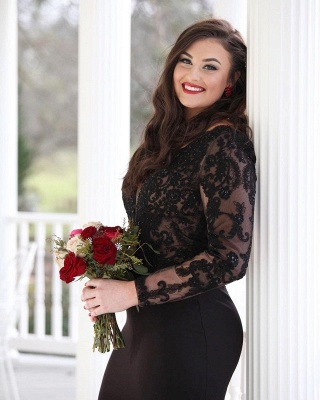 ZY417 Evening Dress Black Long Evening Dresses With Sleeves_2
