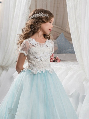 Ball Gown Sweep / Brush Train Wedding / Birthday / Pageant Flower Girl Dresses - Tulle / Cotton Short Sleeve Jewel Neck With Lace / Embroidery / Appliques_2