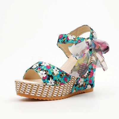 FFT416 Women Platform Floral Bowknot Ankle Strap Peep Toe Wedge Sandals_13