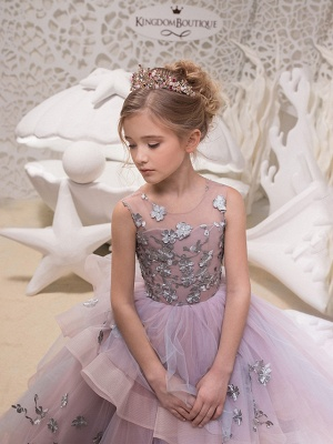 Princess Maxi Party / Birthday / Pageant Flower Girl Dresses - Lace / Organza / Tulle Sleeveless Jewel Neck With Lace / Appliques_3
